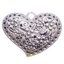 Flower Heart Pendant with Antique Silver Pewter with Flower Accents