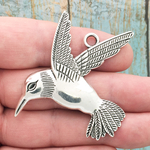 Hummingbird Pendant Extra Large in Antique Silver Pewter
