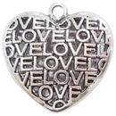 Double Sided Love Heart Pendant with Antique Silver Pewter Medium