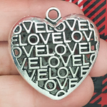 Love Heart Pendant with Antique Silver Pewter Medium