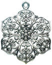 Large Filigree Flower Pendant Antique Silver Pewter