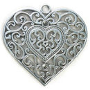 Extra Large Filigree Heart Pendant with Antique Silver Pewter
