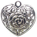 Double Sided Rose Heart Charm Pendant with Antique Silver Pewter Medium