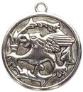 Disk Griffin Pendant in Antique Pewter