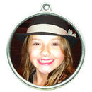 Double Sided Round Photo Charm in Antique Silver Pewter Picture Charm