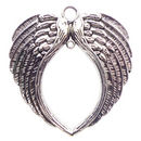 Spread Angel Wing Charm in Antique Silver Pewter Extra Large