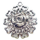 Large Double Sided Flower Pendant Antique Silver Pewter