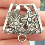 Bails for Jewelry Making in Antique Silver Pewter with Flower Accents