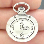 Pocket Watch Charms Wholesale in Antique Silver Pewter