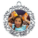 Round Photo Charm in Antique Silver Pewter with Scroll Accents