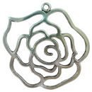 Large Cutout Rose Flower Pendant Antique Silver Pewter
