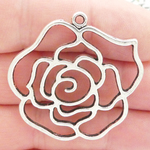 Cutout Rose Pendants Wholesale Antique Silver Pewter