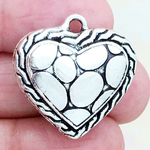 Puffed Heart Charm Pendant with Antique Silver Pewter with Alligator Print