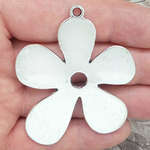 Large Daisy Pendant Flat in Antique Silver Pewter