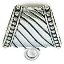 Large Jewelry Bails Charm in Antique Silver Pewter with Beaded Accents