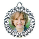 Double Sided Round Photo Charm in Antique Silver Pewter  with Ornate Accents