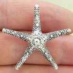 Medium Starfish Pendant in Silver Pewter