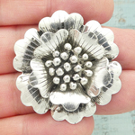 Flower Pendant Antique Silver Pewter Large