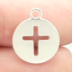 Cutout Cross Charm Disk in Silver Pewter