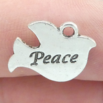 Peace Dove Charm in Antique Silver Pewter