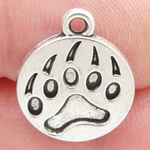 Bear Paw Charm in Antique Silver Pewter Small