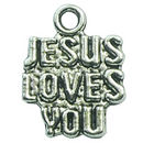 Charm Jesus Loves You in Antique Silver Pewter