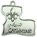 Louisiana Charm in Antique Silver Pewter with Fleur De Lis and New Orleans