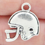 Football Helmet Charm in Antique Silver Pewter Double Sided Flat