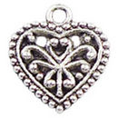 Filigree Small Heart Charm Pendant with Antique Silver Pewter