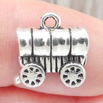 Covered Wagon Charm in Antique Silver Pewter