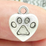 Heart Paw Print Charm in Silver Pewter Small