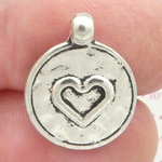 Silver Hammered Heart Charm Disk Double Sided