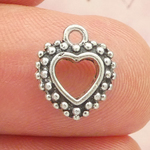 Silver Heart Charm with Bead Accents