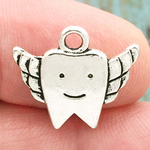 Silver Tooth Fairy Charm Double Sided