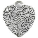 Heart Charm with Flower Accents Antique Silver Pewter