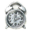 Alarm Clock Charm Double Sided in Antique Silver Pewter