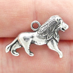 Silver Lion Charm in Pewter Single Sided