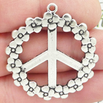 Flower Peace Sign Charm in Silver Pewter Large