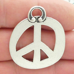 Abstract Peace Charms Wholesale in Silver Pewter Large