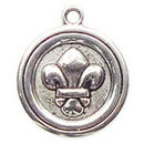 Round Fleur De Lis Charm in Antique Silver Pewter