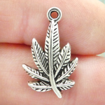 Pot Leaf Charms Wholesale in Antique Silver Pewter