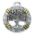 Tree Charm with Gold Accents in Antique Silver Pewter