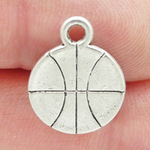 Basketball Charm Flat in Antique Silver Pewter Medium