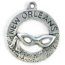 New Orleans Charm in Silver Pewter with Mask