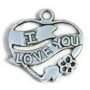 I Love You Charm in Open Heart in Silver Pewter