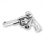 Hand Gun Charm in Antique Silver Pewter