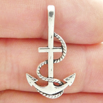 Anchor Charms Wholesale with Rope Accent in Silver Pewter Medium