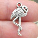 Flamingo Charms Bulk in Antique Silver Pewter