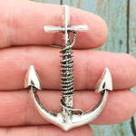 Silver Anchor Pendant in Pewter Large