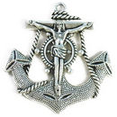Nautical Anchor Pendant with Jesus in Silver Pewter Extra Large
